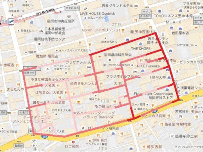 大名1丁目歩行者マップ